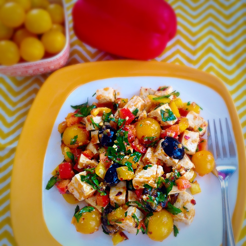 Tofu Salad with Herbed Persimmons