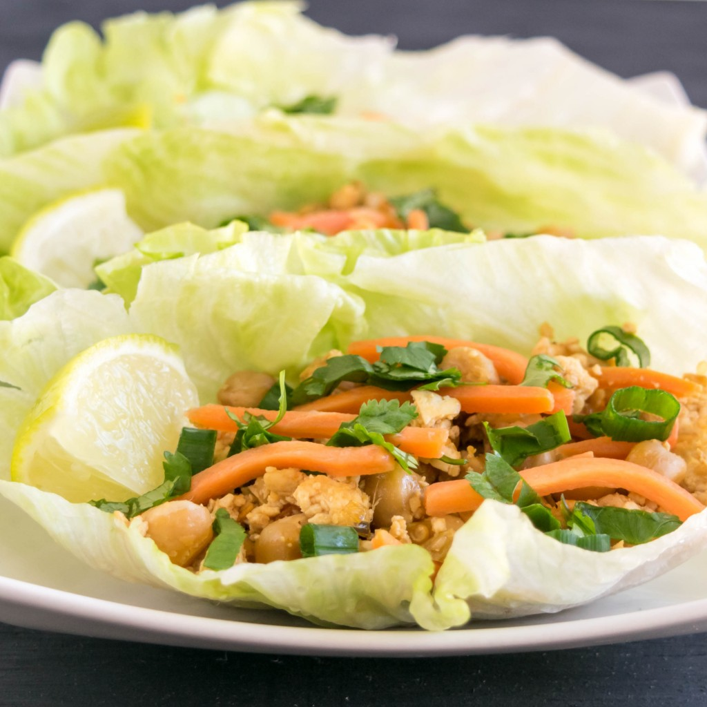 A close up view of Tofu Chickpeas Lettuce Wraps