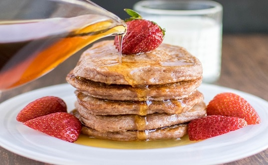 Caramelized Strawberry Sauce Pancakes