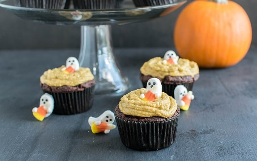 Chocolate Almond Cupcakes with Pumpkin Frosting