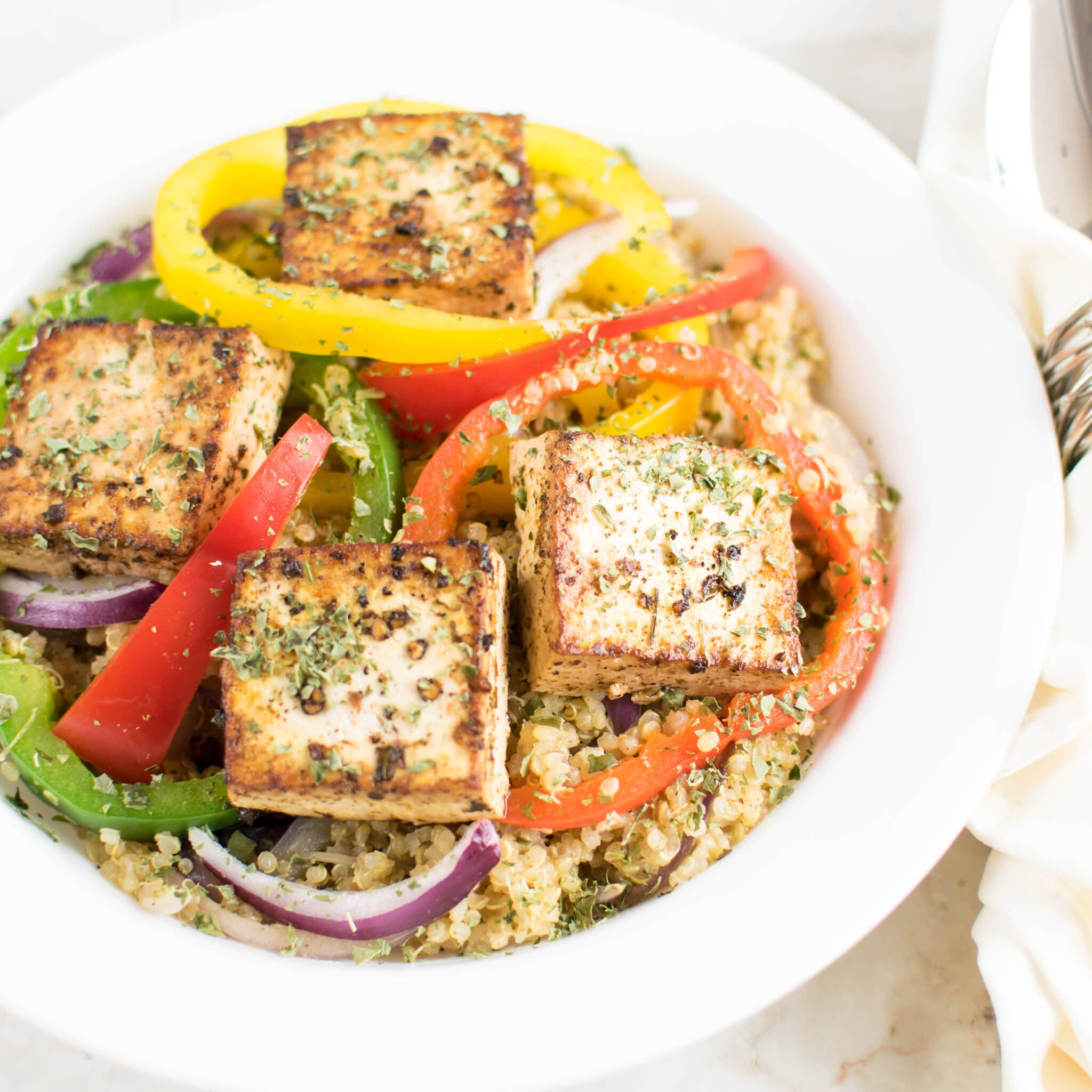 Red Wine Vinegar Tofu with Quinoa is a close up view shown in this image | kiipfit.com
