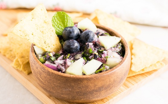 Honey Dew Blueberry Salsa
