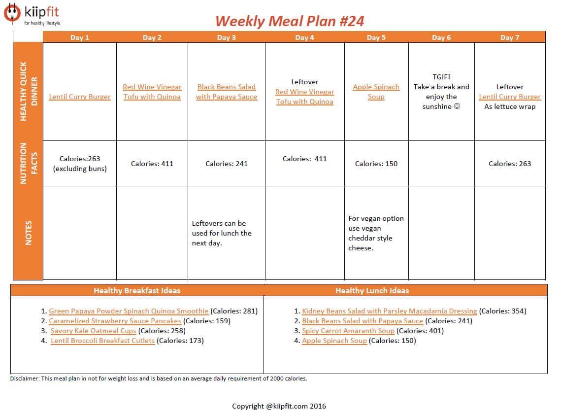 Weekly Meal Plan #24 | kiipfit.com