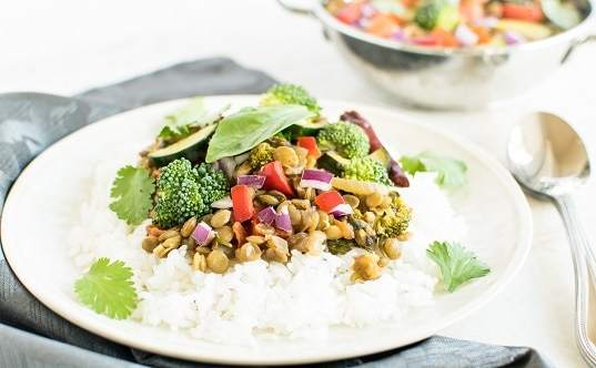 Basil Vegetable Lentil Curry