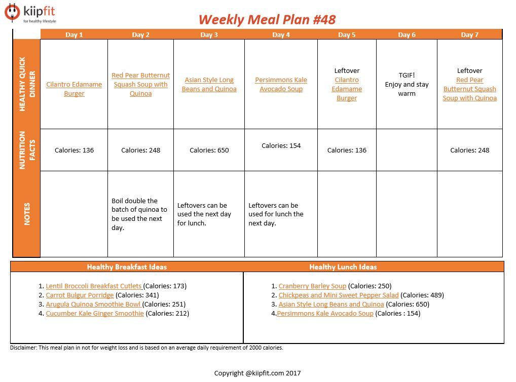 Weekly Meal Plan #48   kiipfit.com