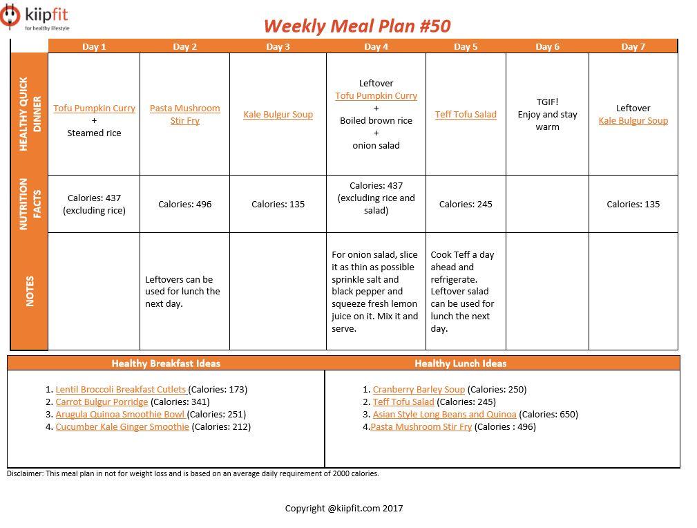 Weekly Meal Plan #50 | kiipfit.com