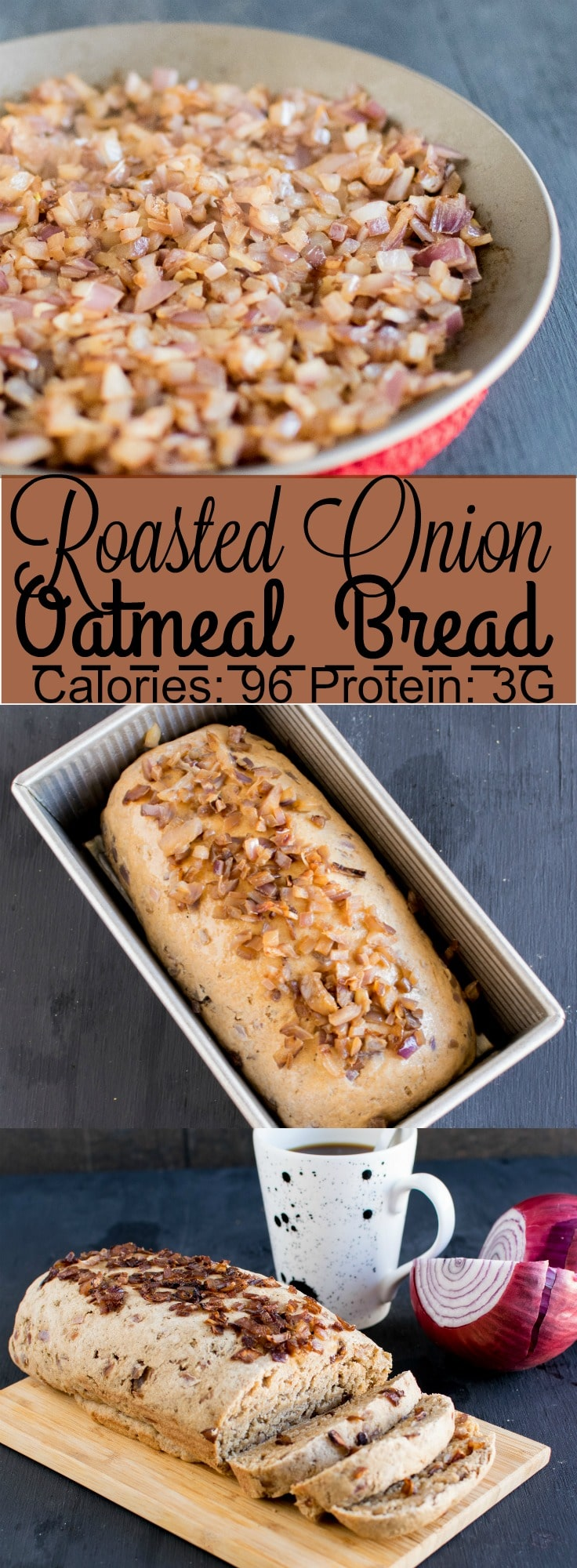 Roasted Onion Oatmeal Bread - fresh onions roasted to brown and combined into oat flour and risen with the help of yeast and baked into soft and fluffy bread loaf is a perfect brunch or snack that tastes delicious with a generous spread of butter/margarine or can be enjoyed as a sandwich | kiipfit.com