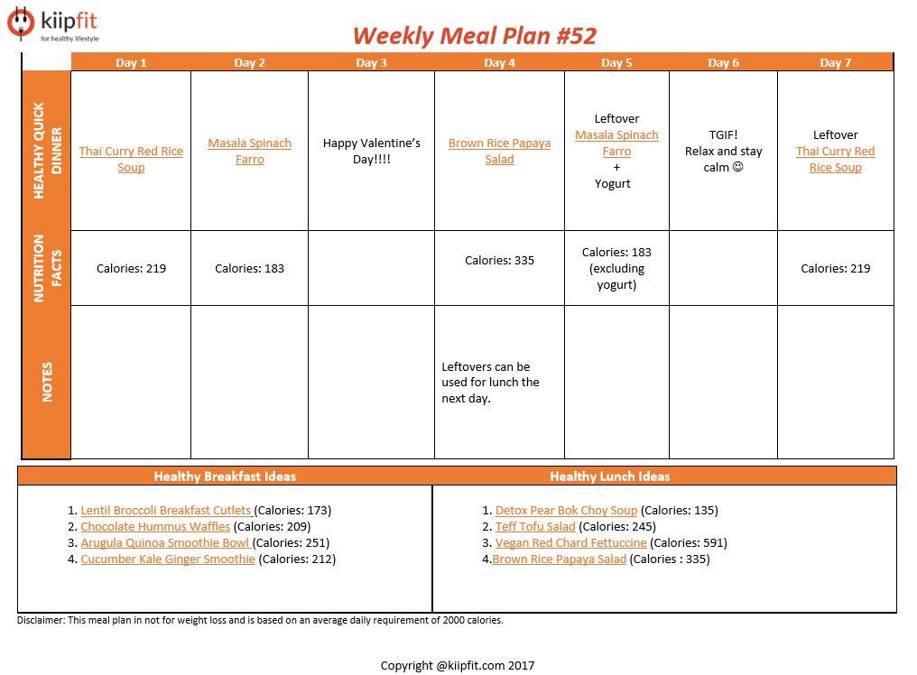 Weekly Meal Plan #52 | kiipfit.com
