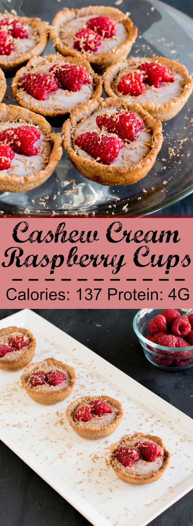 Cashew Cream Raspberry Cups - vegan delight for the valentine's day made with fresh and natural ingredients, mildly sweet and healthy indulgent, ready in only 25 minutes | kiipfit.com