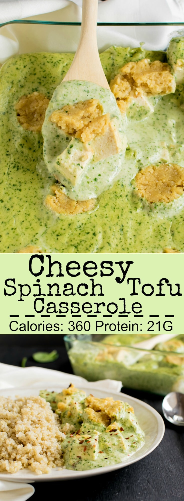 Cheesy Spinach Tofu Casserole | The nutty flavor of this vegan and gluten free entree is worth devouring. My family loves this outstanding entree when paired with quinoa | kiipfit.com