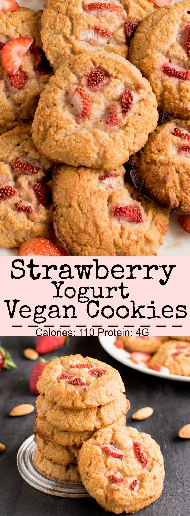 Strawberry Yogurt Vegan Cookies | gluten free and paleo these cookies healthy and delicious with a subtle flavor of fresh strawberries. My little one love these soft, moist and chewy cake like cookies | kiipfit.com