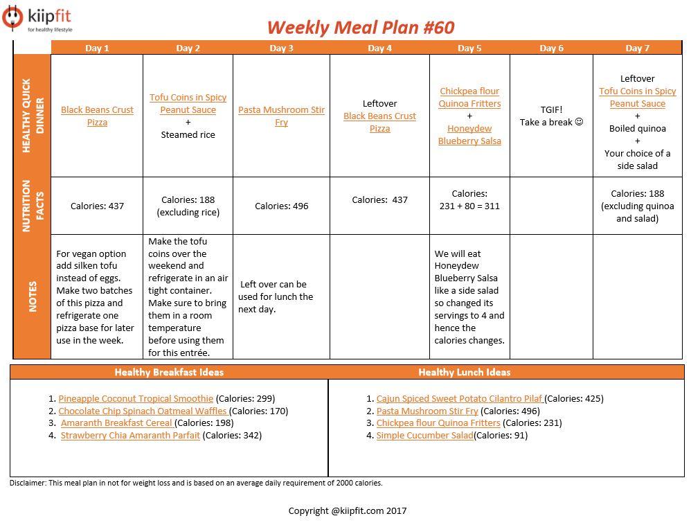 Weekly Meal Plan #60 | healthy vegan and vegetarian recipes | kiipfit.com
