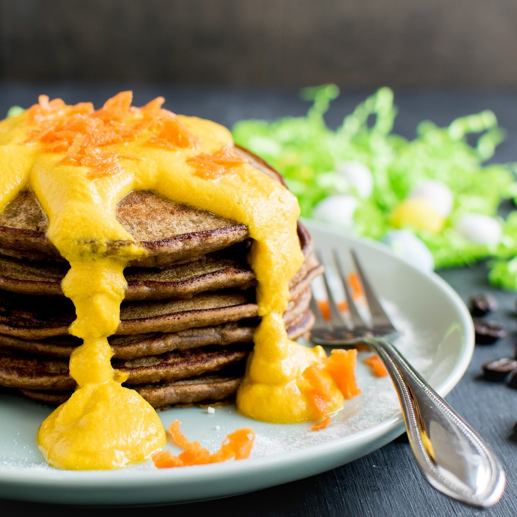 Coffee Quinoa Pancakes with Carrot Frosting are moist, fluffy and satisfying morning meal. Rich in protein and other nutrients these vegan and gluten free pancakes are bursting with flavors. They are so perfect for Easter mornings   kiipfit.com