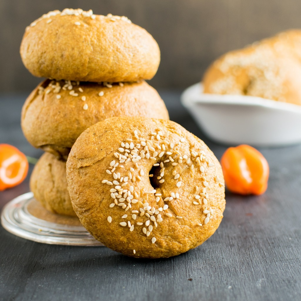 pinterest Habanero Cashew Sauce Bagels are moist, soft and fluffy with mild essence of fresh habanero peppers. These vegan bagels tastes outstanding and are so easy that even a new baker can enjoy these | kiipfit.com