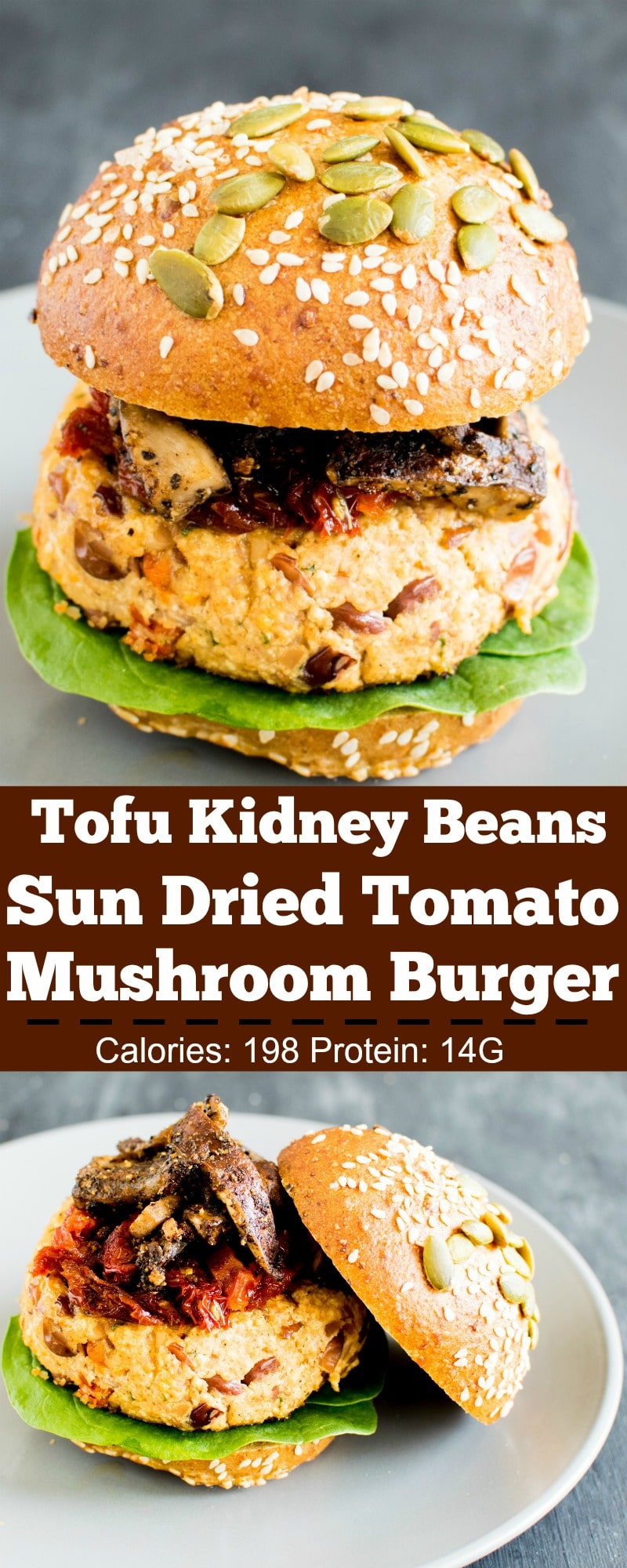 Tofu Kidney Beans Sun Dried Tomato Burger with Sauteed Mushrooms is absolutely delectable and a must try. Because of so many variety of flavors infused into one burger this recipe serves perfectly for BBQ, picnics or casual gatherings. Super easy to make and no deep frying required. Just assemble the ingredients in the bowl and place the burger patties on a grill or a pan [ VEGAN ] | kiipfit.com