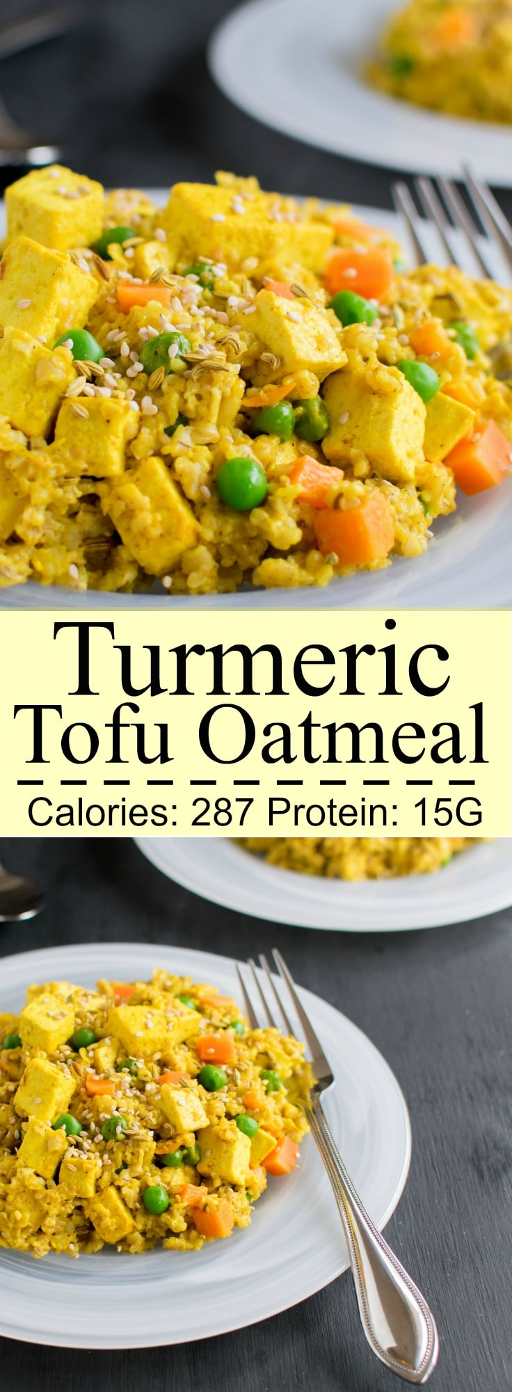 Turmeric Tofu Oatmeal - healthy and nutritious savory lunch option | vegan and dairy free | kiipfit.com