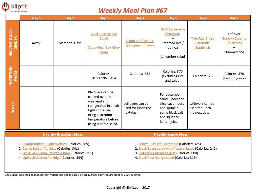 Weekly Meal Plan #67 | healthy vegan and vegetarian recipes | kiipfit.com