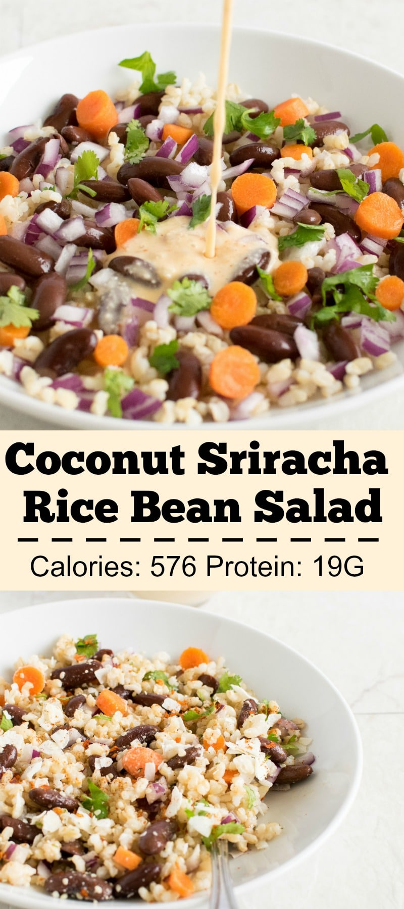 Brown Rice Kidney Bean Salad with Coconut Sriracha Dressing - vegan and gluten free this salad is desirable with utmost delicious blend of ingredients | kiipfit.com