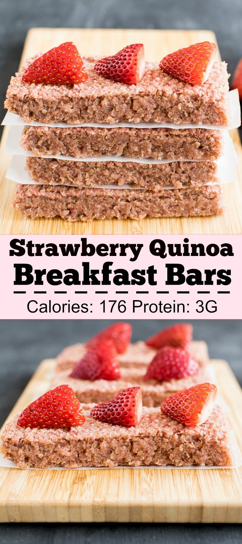 Strawberry Quinoa Breakfast Bars are an absolute delight. It's the prefect grab and go breakfast and serves well as a snack for those odd hours [ vegan + gf + nutfree ] kiipfit.com