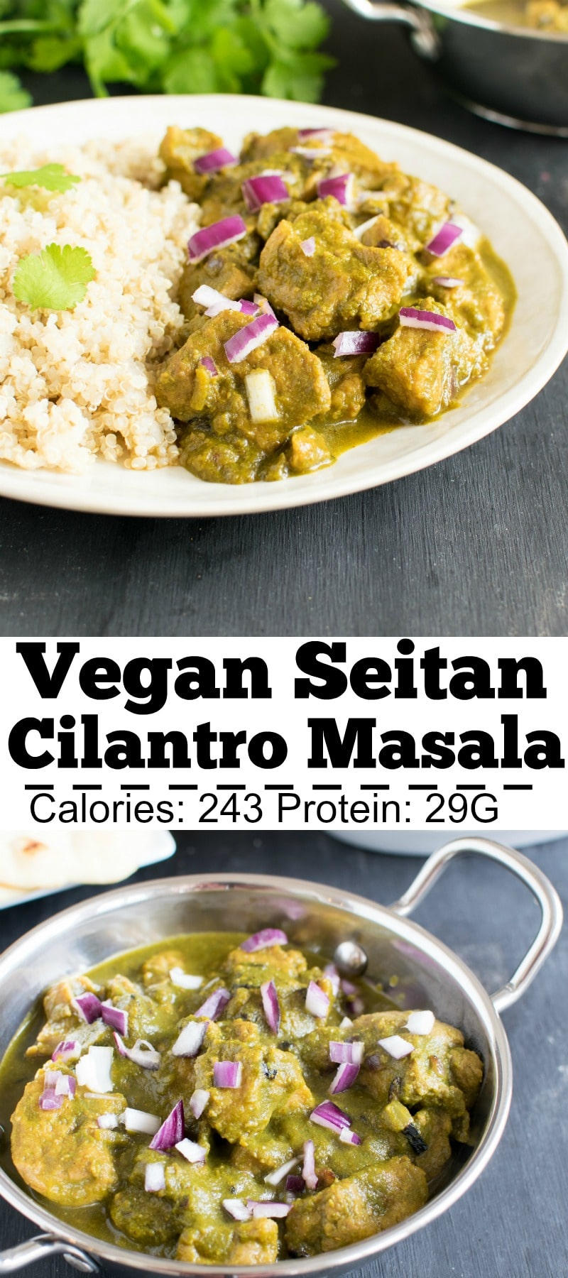 Vegan Seitan Cilantro Masala is a delectable and flavorful entree with a medley of Indian spices and vegan protein.My entire family enjoyed this entrée. Vegan Seitan Cilantro Masala pairs well with boiled quinoa/steamed rice/ naan and a side onion salad. Even meat lovers would love this entrée and be joyous about vegan dishes | kiipfit.com