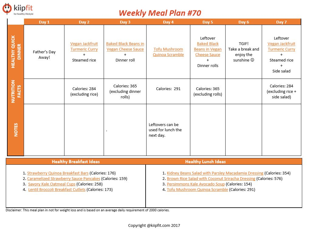Weekly Meal Plan #70 | healthy vegan and vegetarian recipes | kiipfit.com