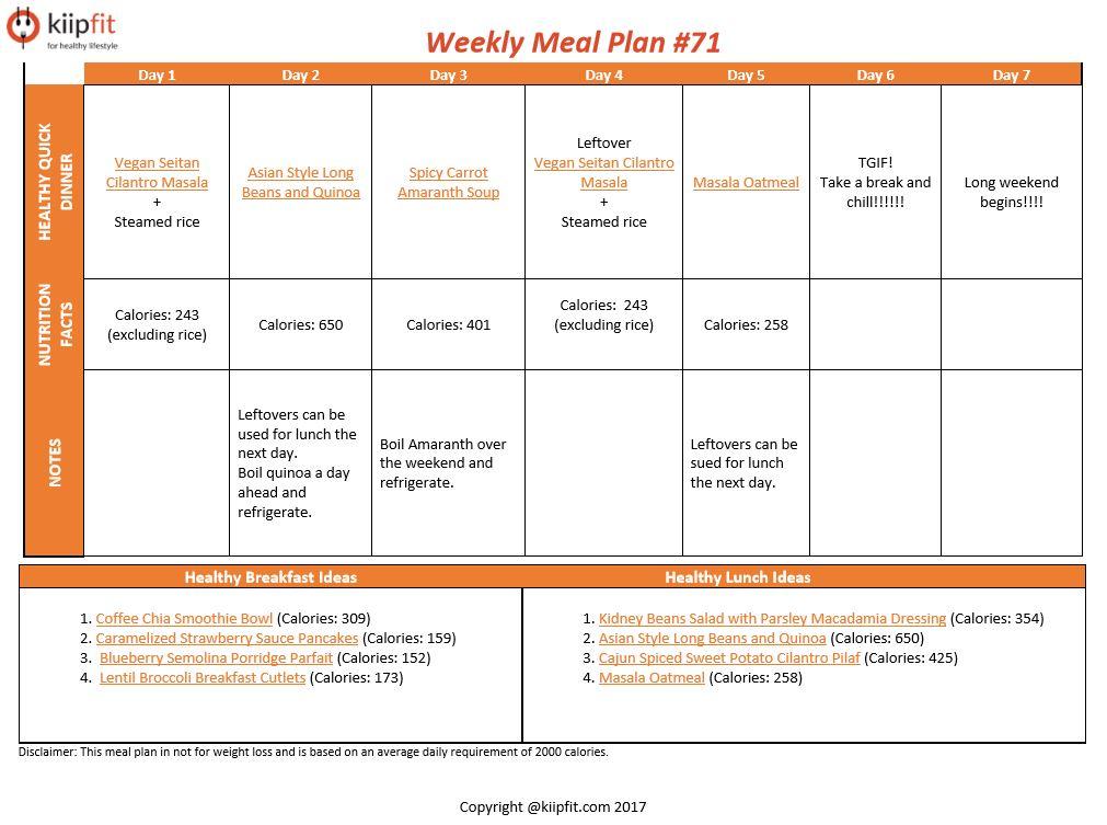 Weekly Meal Plan #71 | healthy vegan and vegetarian recipes | kiipfit.com