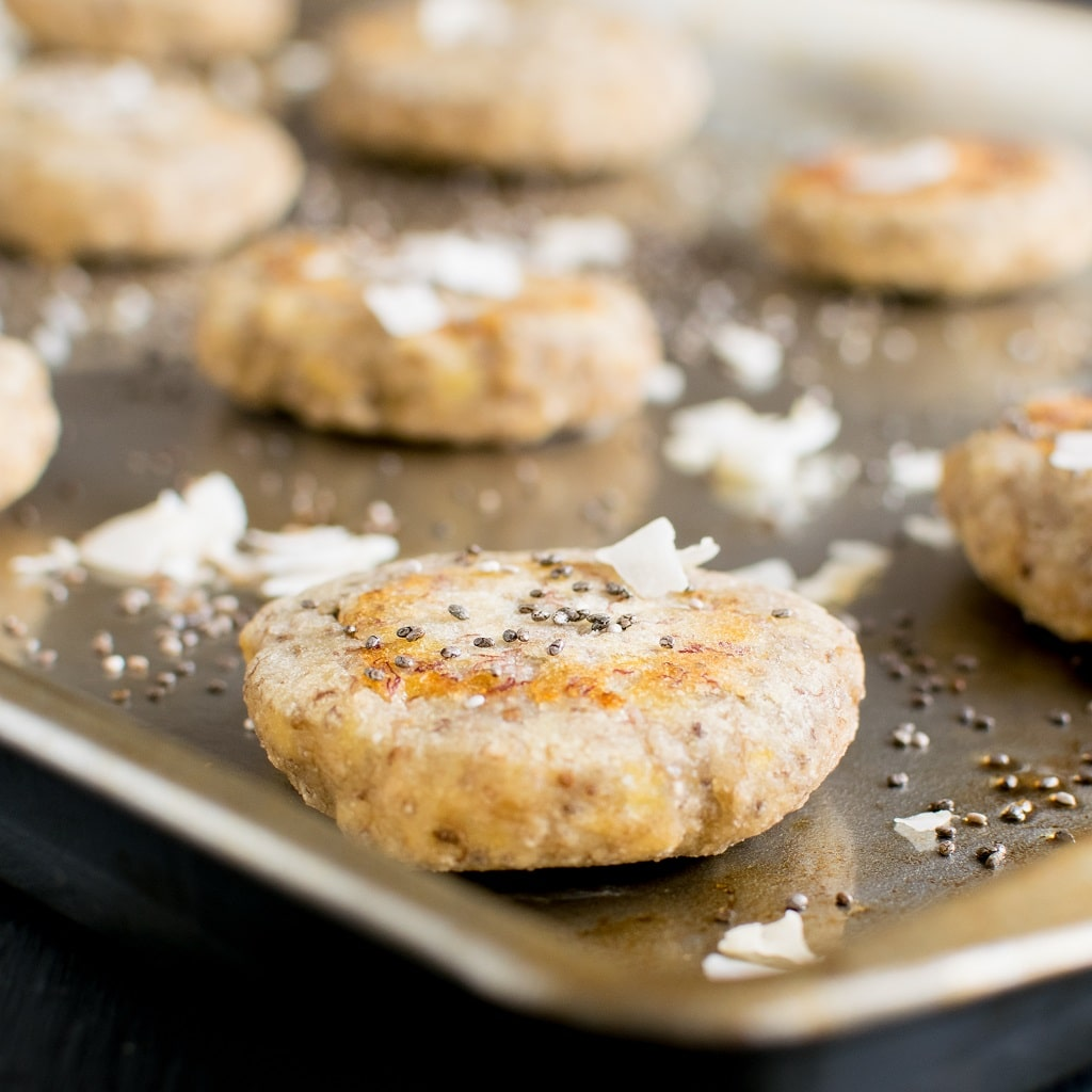 3 Ingredient Coconut Chia Energy Cookies are tasteful post work out recovery replenishment. Made with simple ingredients in about 35 minutes in minimum mess. They serve well as a healthy snack for kids with no worries of them being sugar high [ vegan + paleo ] kiipfit.com