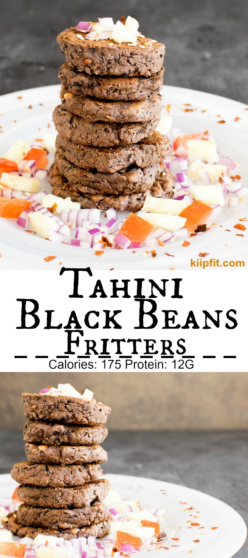 Tahini Black Beans Fritters are scrumptious yet nutritious everyday snacks or breakfast. These fritters are versatile enough to be consumed as patties over your choice of salad. These fritters taste amazing as sandwiches. However, I enjoy these fritters as is with a vegan yogurt base dip [ vegan + GF + nut free + flourless ] kiipfit.com