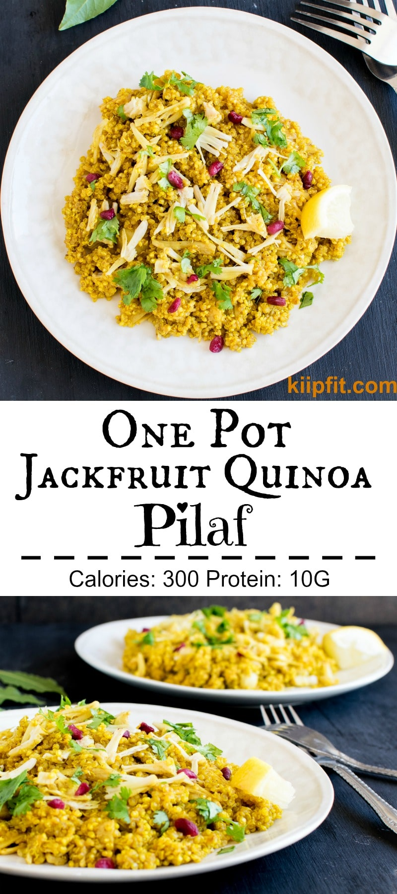 One Pot Jackfruit Quinoa Pilaf is my latest favorite for lunch and or dinner. It's a scrumptious satisfying meal with a medley of spices and herbs [ vegan + gf ] kiipfit.com