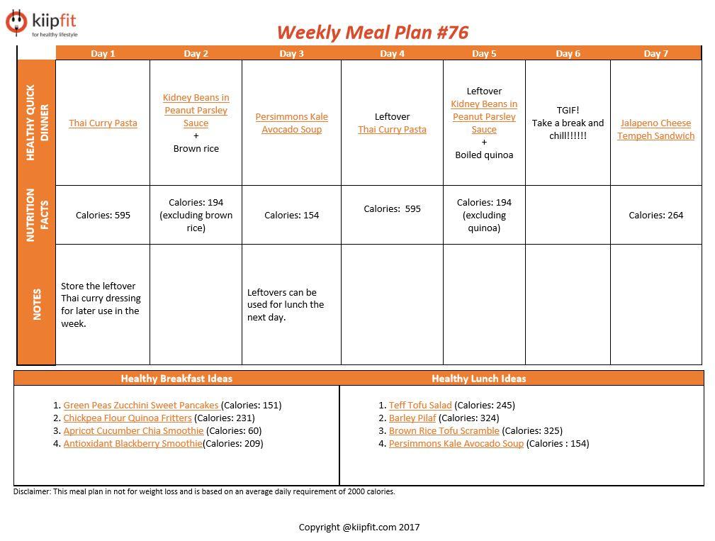 Weekly Meal Plan #76 | healthy vegan and vegetarian recipes | kiipfit.com