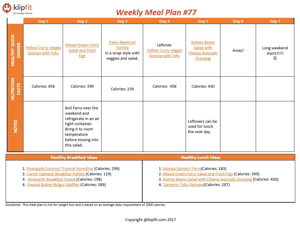 Weekly Meal Plan #77 | healthy vegan and vegetarian recipes | kiipfit.com