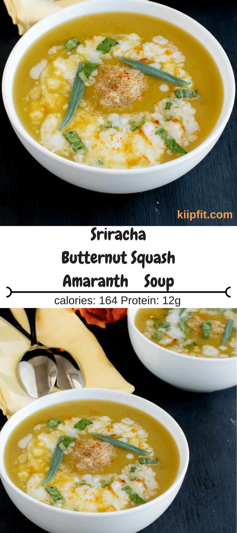 This creamy and nutritious Sriracha Butternut Squash Amaranth Soup is bursting with flavors. It's healthy, gluten free and protein rich. This heavenly soup is made with fresh butternut squash, amaranth grains and spiced with sriracha powder mix. Now that sounds like a perfect fall soup [ vegan + GF + oil free ] kiipfit.com