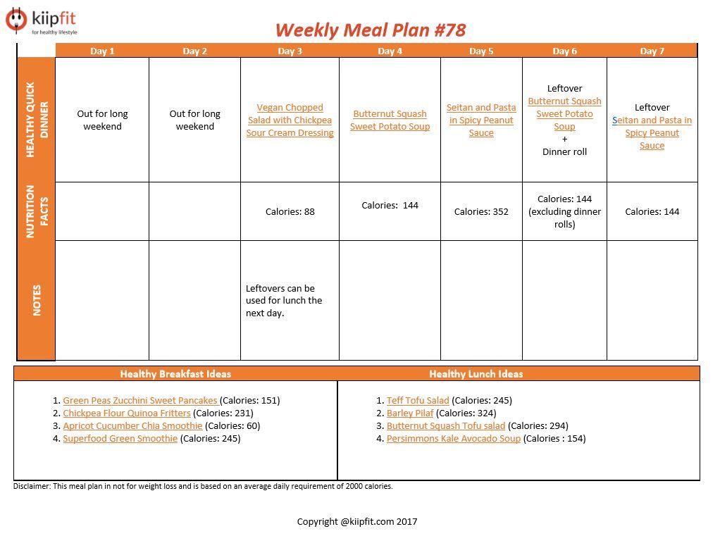 Weekly Meal Plan #78 | healthy vegan and vegetarian recipes | kiipfit.com