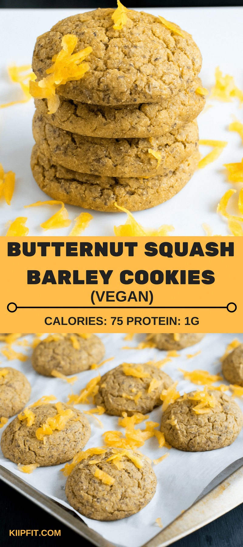 Butternut Squash Barley Vegan Cookies are packed with the goodness of seasonal fruit and healthy grains. The delicious blend of the ingredients brings out a flavorful and nutritious dessert. It is perfect to satisfy the sweet cravings at odd hours. These cookies are so nutritious that they serve well as a pre – workout snack [ oil free + nut free ] kiipfit.com