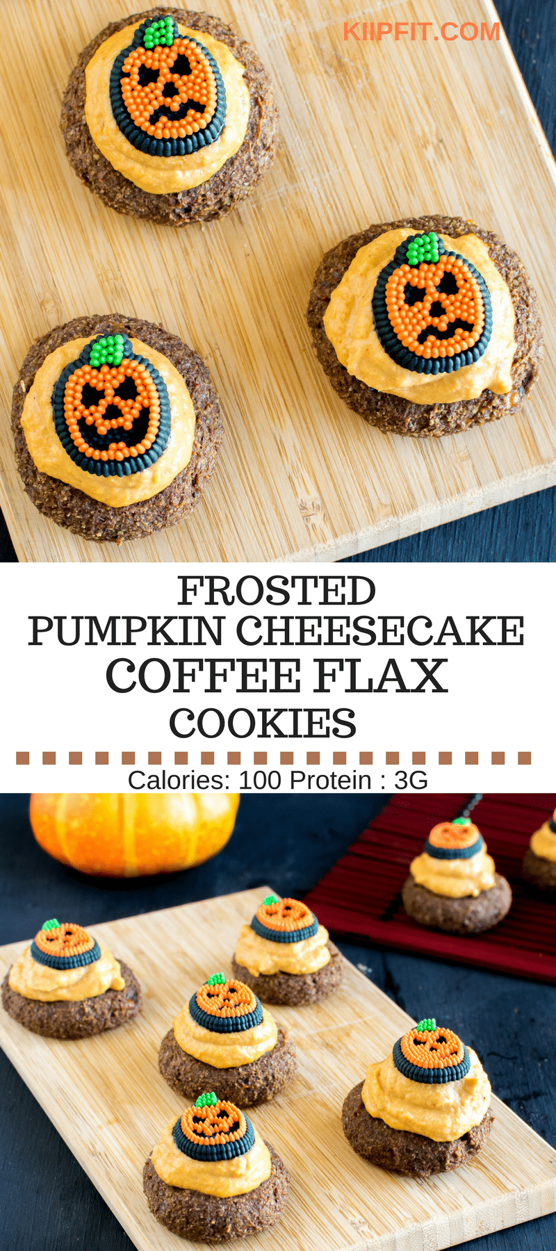 Frosted Pumpkin Cheesecake Coffee Flax Cookies is not only a lip smacking Halloween treat but is the cutest ever. These vegan cookies are soft and chewy with a variety of flavors infused in just one bite. The creamy pumpkin cheesecake frosting is outstanding and to die for [ vegan + gluten free ] kiipfit.com