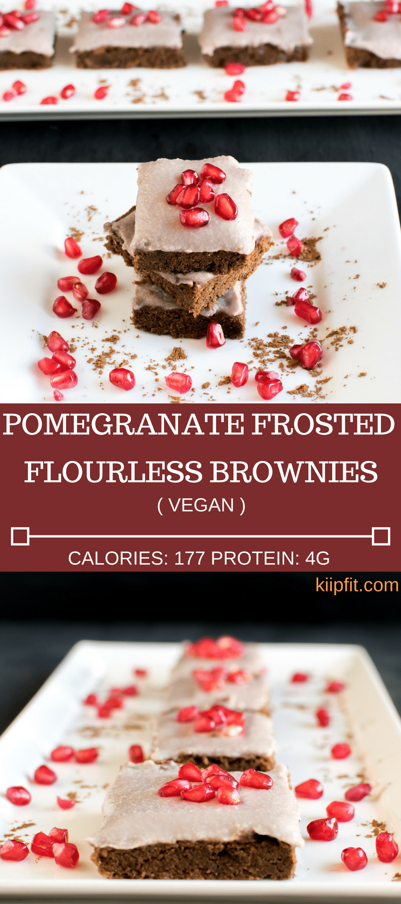 Pomegranate Frosted Flourless Brownies made with loads of love and care is packed with deliciousness. The chewy texture of this flourless brownies and freshly prepared pomegranate frosting is simply outstanding. Once you bite on it I bet you cannot stop until you finish the entire batch. The combination of chocolate and fresh pomegranate kernels in itself is mind boggling. The flavors tantalize the taste buds with immense pleasure and satisfaction [ vegan + paleo + gf ] kiipfit.com
