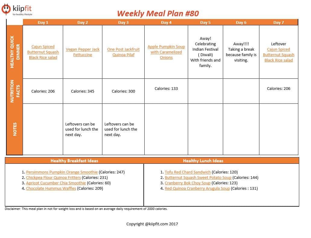 Weekly Meal Plan #80   healthy vegan and vegetarian recipes   kiipfit.com