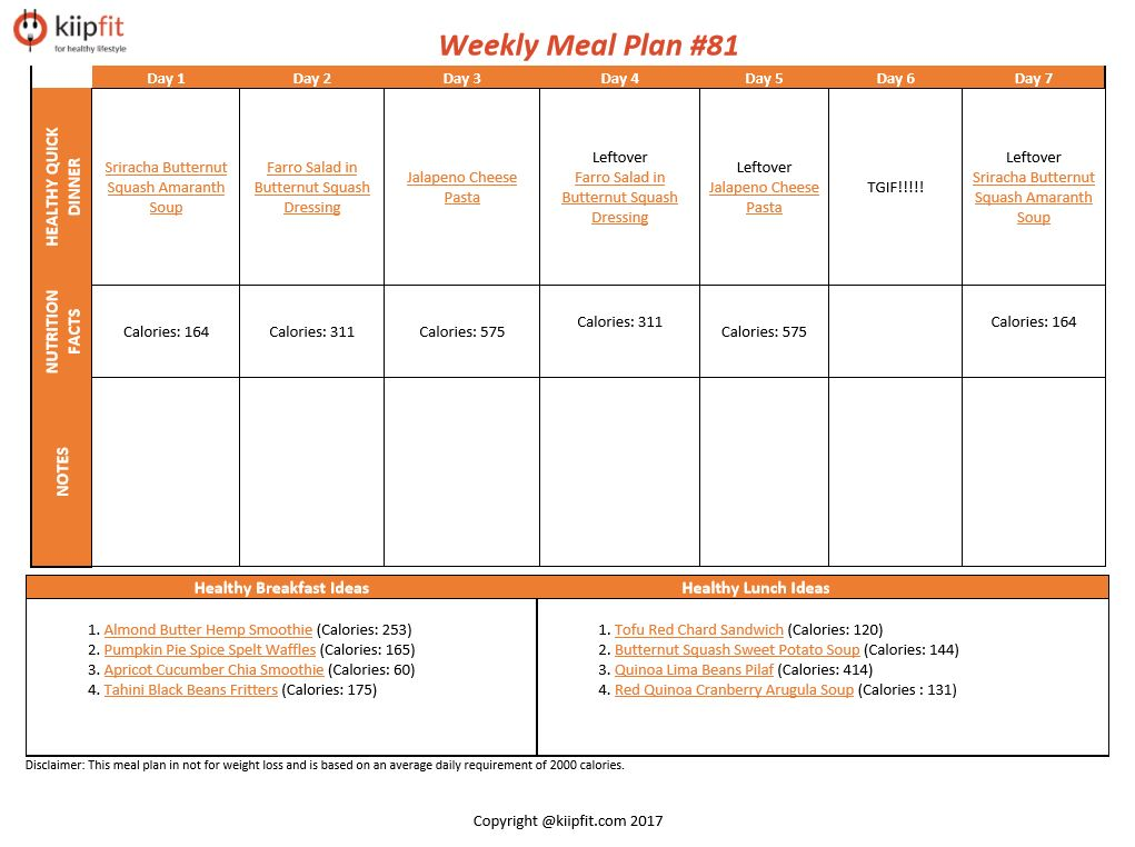 Weekly Meal Plan #81 | healthy vegan and vegetarian recipes | kiipfit.com