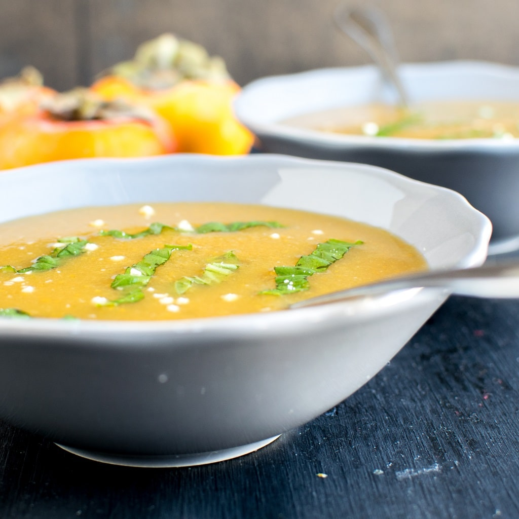 Persimmon Habanero Soup as the name suggests has a subtle sweetness and prominent spicy flavor. This soup is very low in calories and has 0 fats especially if you use your own homemade oil free vegetable broth. Also, not to forget it's cozy yet satisfying [ vegan + gf + paleo + oil free ] kiipfit.com