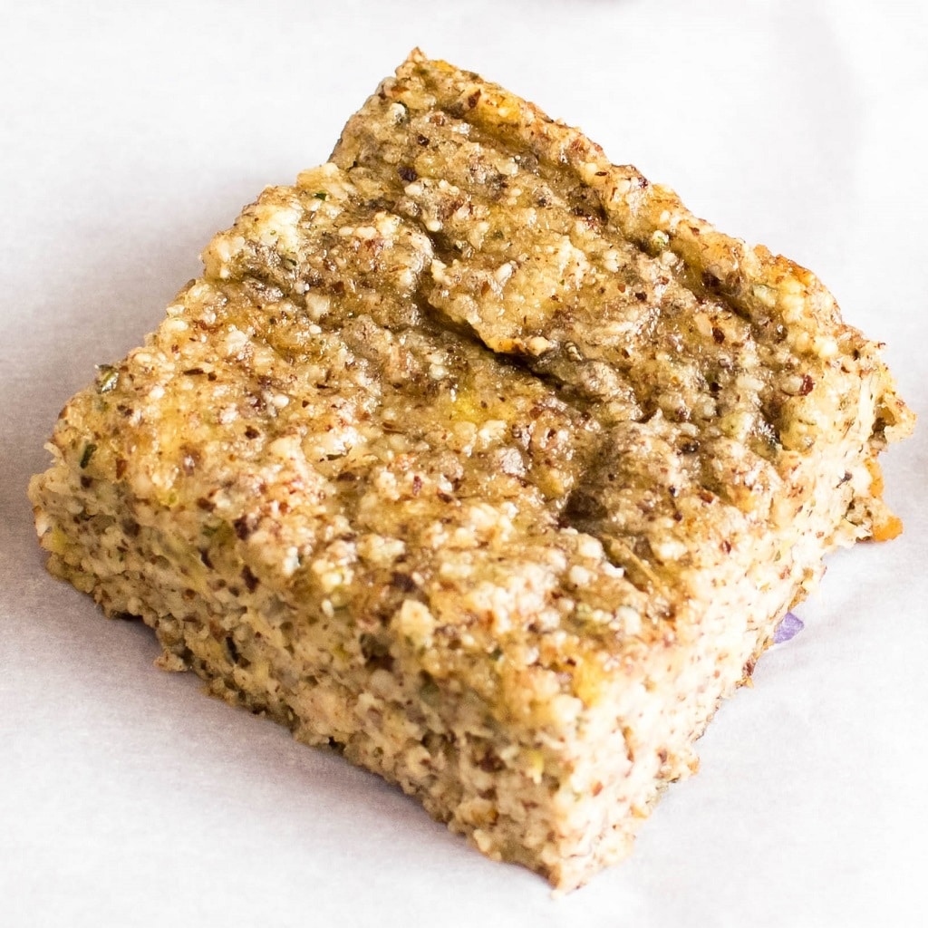 A close up view of banana hazelnut protein bars is presented in this image | kiipfit.com