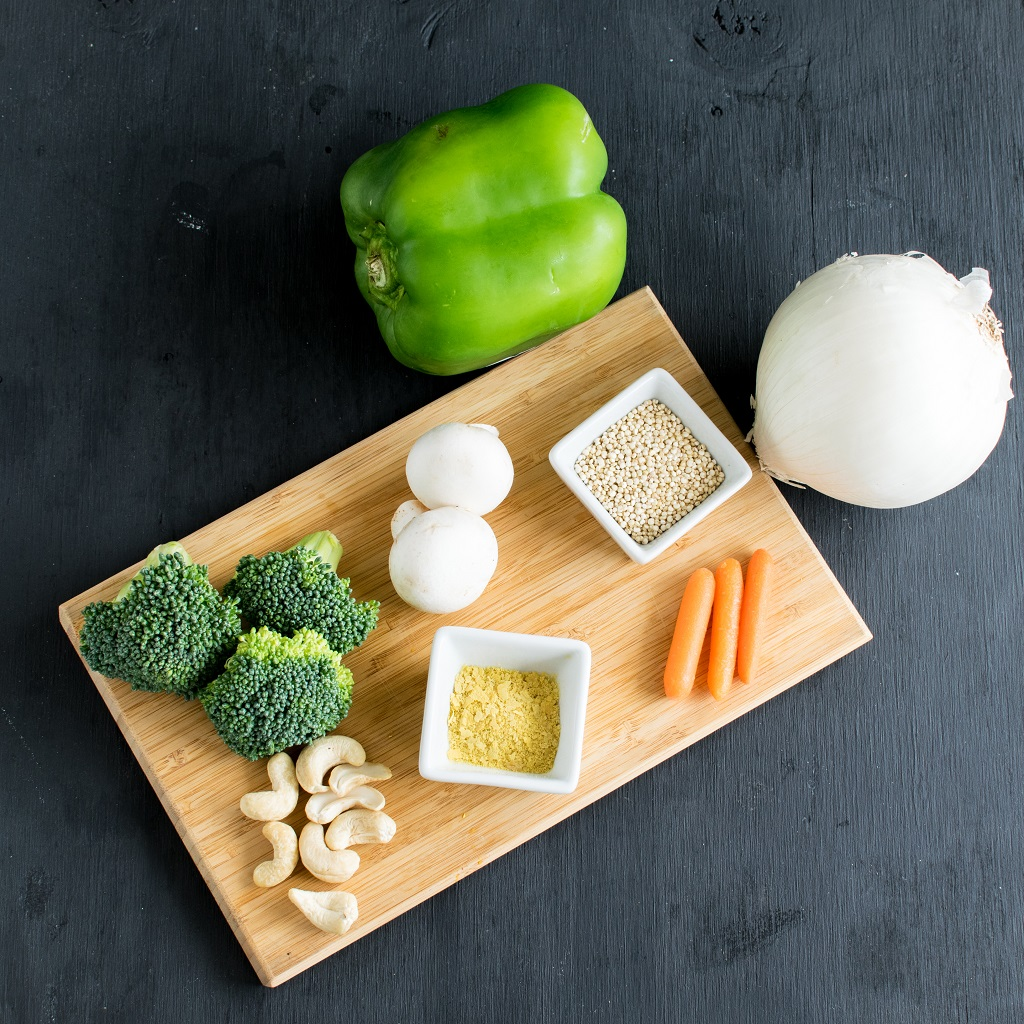 The top view of the raw ingredients of Pressure Cooker Vegan Cheese Vegetable Quinoa are shown in this image | kiipfit.com