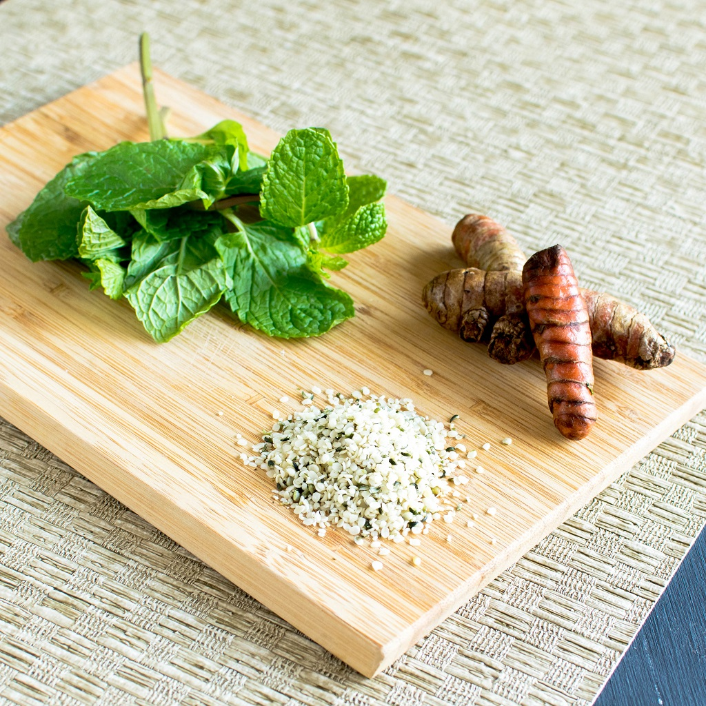 The raw ingredients o Turmeric Mint Protein Smoothie is displayed in this image | kiipfit.com