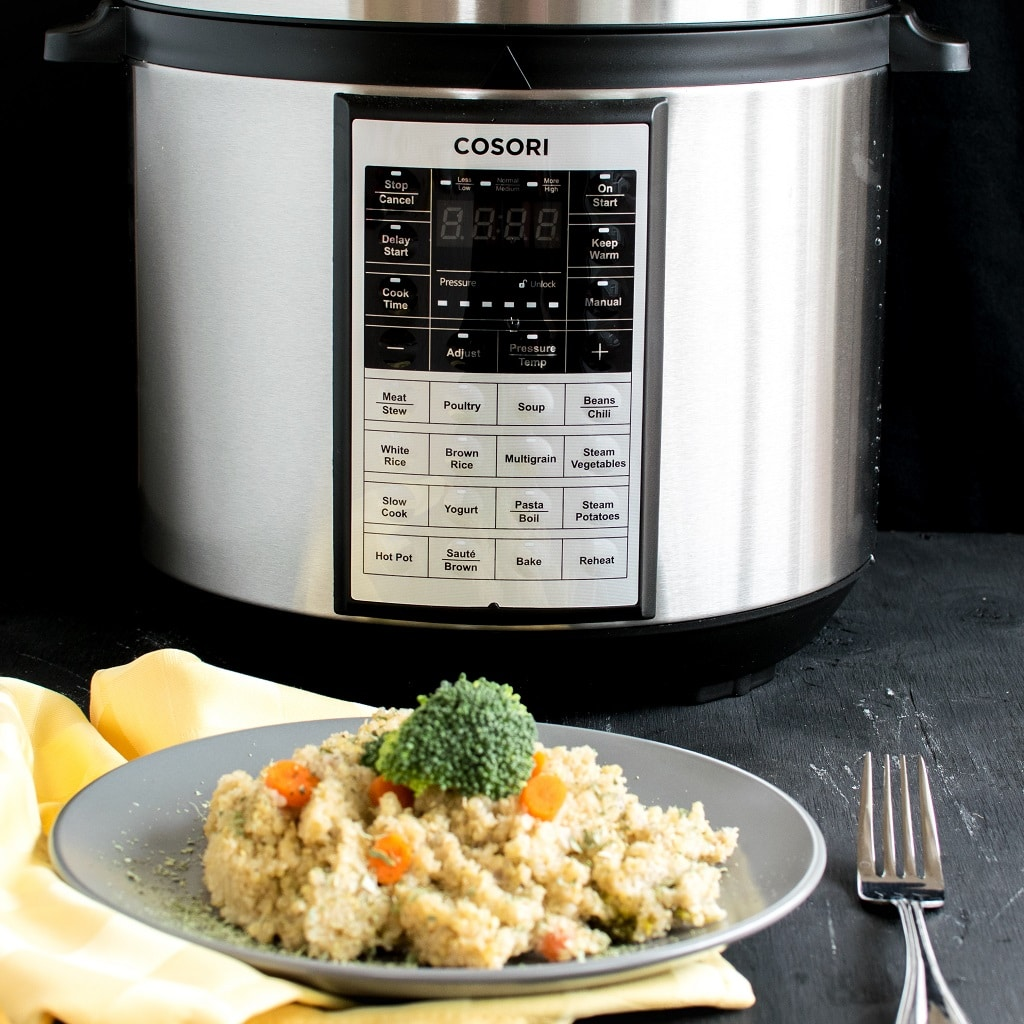 Vegan Cheese Vegetable Quinoa with the multi programmable pressure cooker is shown in the image | kiipfit.com