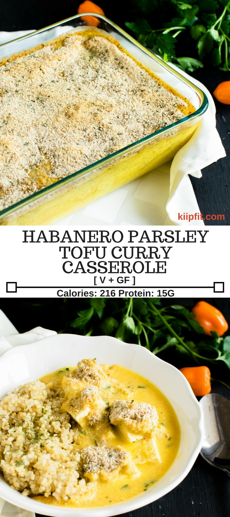 Habanero Parsley Tofu Curry Casserole is a spicy and savory fusion dish with a smooth texture. It is satisfying, protein rich and a make ahead dish [ Vegan + GF ] kiipfit.com