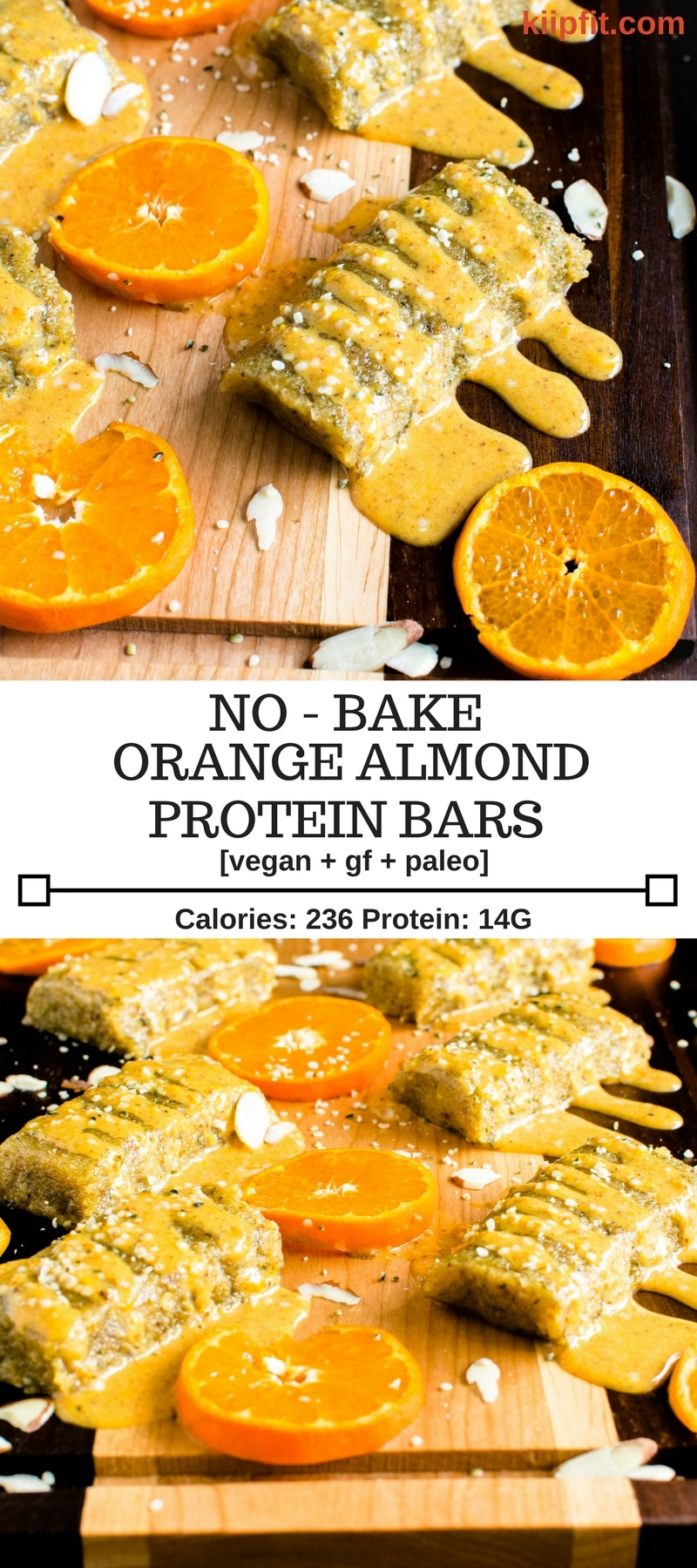 No Bake Orange Almond Protein Bars are perfectly sweetened and are moist, soft and chewy. These are vegan, gluten free and paleo. Moreover, these bars are suitable for all types of diet and for kids as well [ Vegan + GF + Paleo ] kiipfit.com