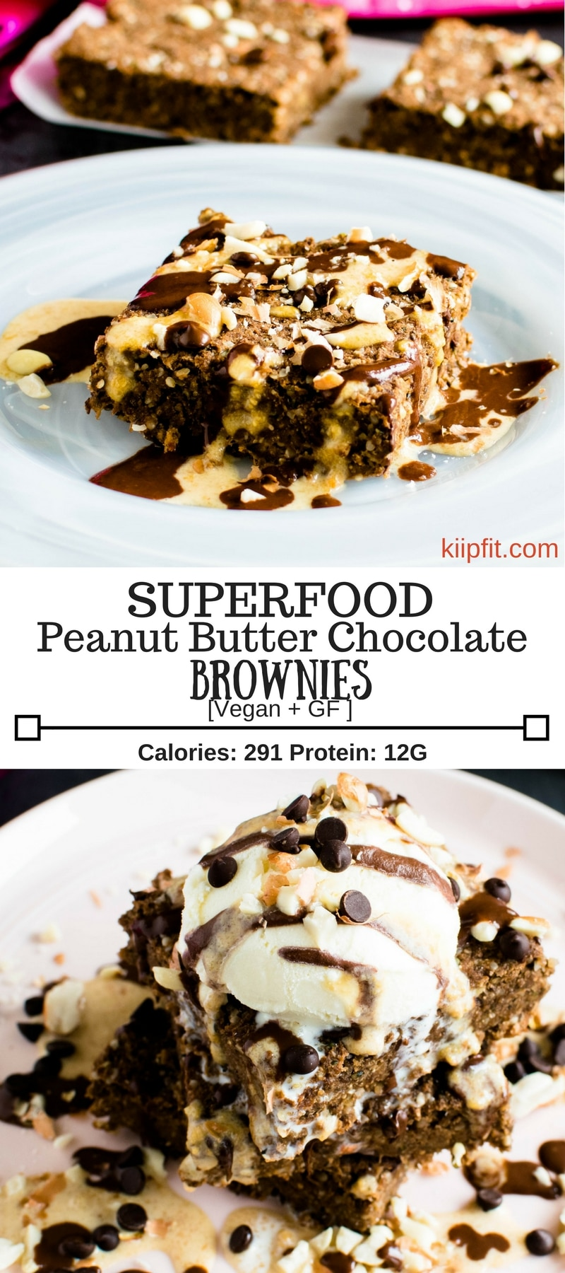 Superfood Peanut Butter Chocolate Brownies is healthy and chewy with a subtle flavor of peanut butter and chocolate. It's made of all the possible healthy ingredients. These delectable brownies are vegan and gluten free | kiipfit.com