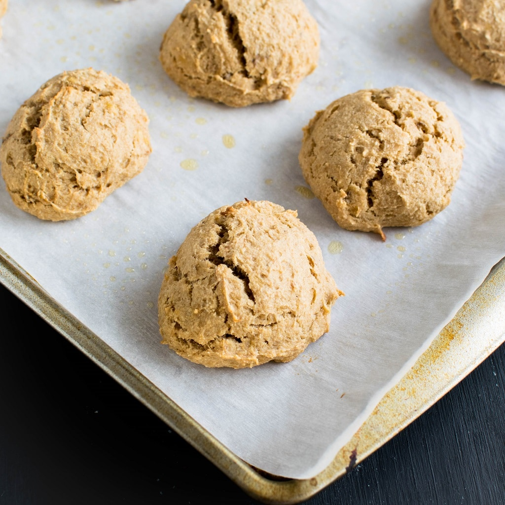 Peanut Butter Banana Amaranth Cookies are shown on the cookie sheet fresh out of the oven | kiipfit.com