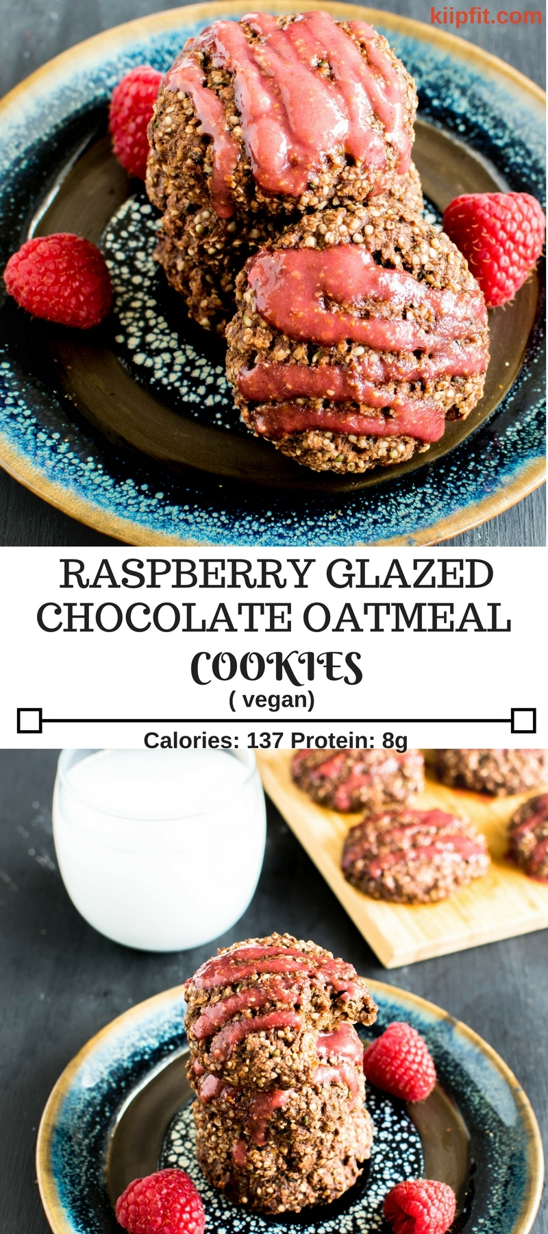 Raspberry Glazed Chocolate Oatmeal Cookies are healthy, moderately sweet in taste and protein rich. These vegan cookies are easy to bake and are satisfying for the taste buds. They not only serve as a dessert but these are great as a breakfast and or as a pre-workout snack [ vegan ] kiipfit.com