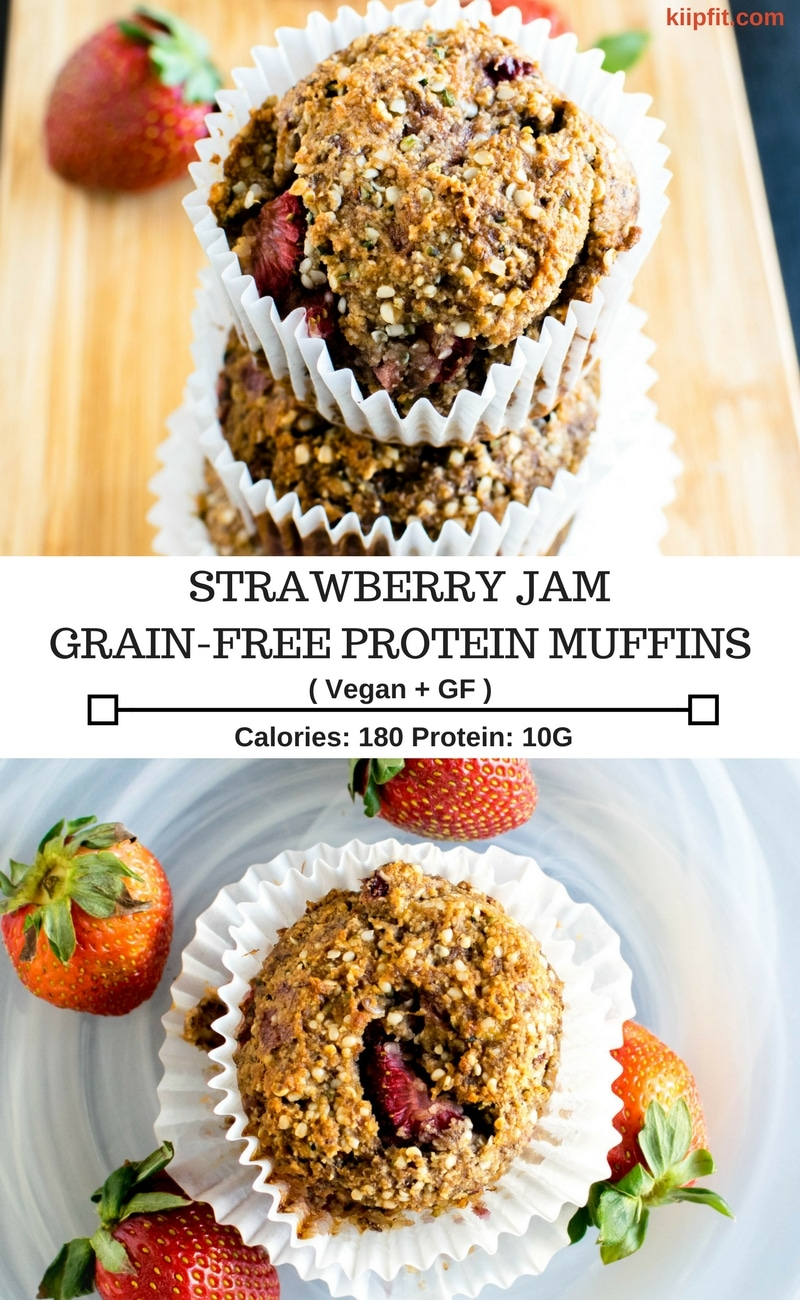 Strawberry Jam Vegan Protein Muffins are protein rich and guilt-free sweet treats that serves for a healthy breakfast too. These super nutritious muffins serve amazingly well as pre-workout snacks too [ oil free + paleo + GF ] kiipfit.com