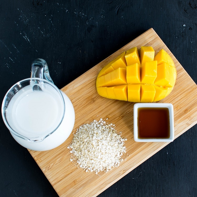 The raw ingredients of 4 ingredient quinoa flakes mango pudding is shown in this image.